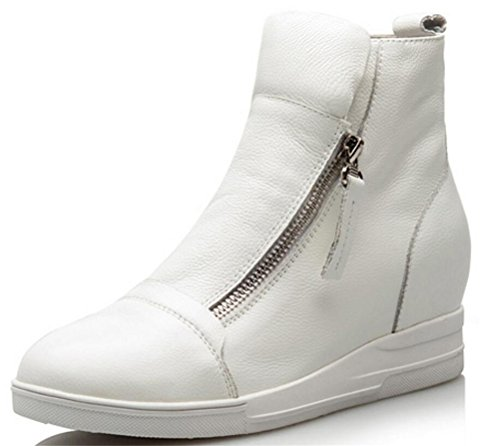 Womens Leather Hidden Heel High Top Wedges Casual Fashion Sneakers Shoes White