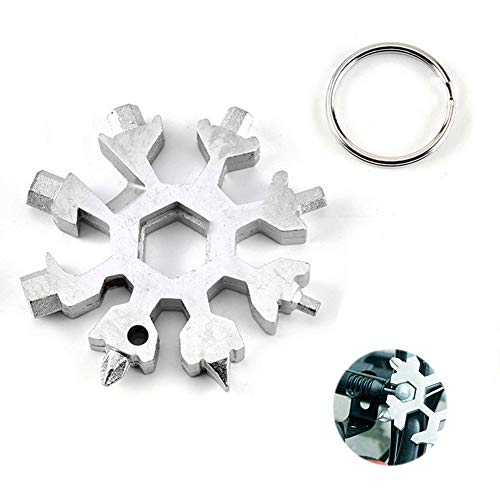 - 18-In-1 Stainless Multi-Tool Screwdriver Keychain Snowflake Multi-Tool Card Combination Bottle Opener Incredible Tool