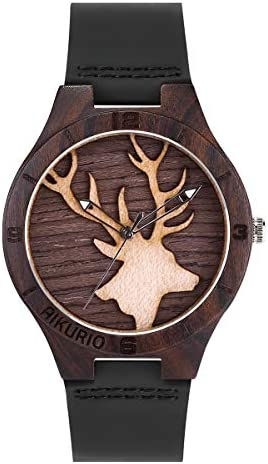 AIKURIO Mens Wooden Watches 3D Engraving Wrist Watches Analog Quartz with Leather Strap AKR011