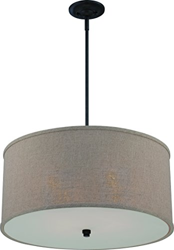 Luxury Modern Farmhouse Pendant or Chandelier, Large Size: 12'H x 22'W, with Organic Style Elements, Linen Drum Design, Dark Bronze Finish and Khaki Fabric Shade, UQL2230 by Urban Ambiance