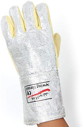 """労働保護作業用手袋 人の作業用手袋のアルミホイルの高温耐火性の星の産業安全手袋、13.8"""" (Color : Silver, Size : L)"""