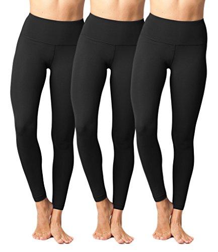 Yogalicious High Waist Ultra Soft Lightweight Leggings – High Rise Yoga Pants – Black 3 Pack – Medium