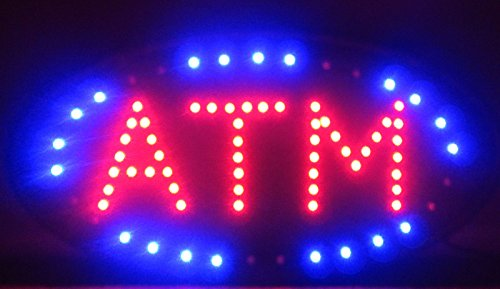 Led Atm Sign - 2xhome - Open LED Signs - ATM - Big & Bright High Visibility Sign - Moving Motion Effect Flashing Effects Animation Animated Sign Multiple Colors Color Multi Colored Classic...
