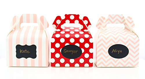 Valentines Day Candy Boxes & Black Label Chalkboard Vinyl Stickers (36 Pack) - Valentines Box for Candy or Favors or Chocolate Box, Valentines Day Party Favor Boxes, Red & Pink Love Candy Box (Buy Valentine Chocolate Online)