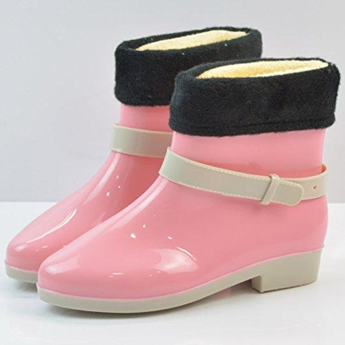 Lluvia Rosa de Forro Botas Impermeables Lindos con Zapatos Corto LvRao Goma Boots Mujeres Botines de Nieve Z7qOwnSY