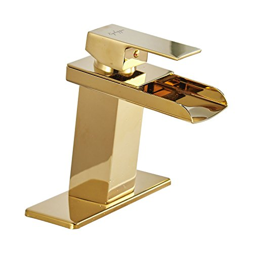 Great Deal! BWE Gold Waterfall Bathroom Sink Faucet Single Handle One Hole Deck Mount Lavatory,Gold ...
