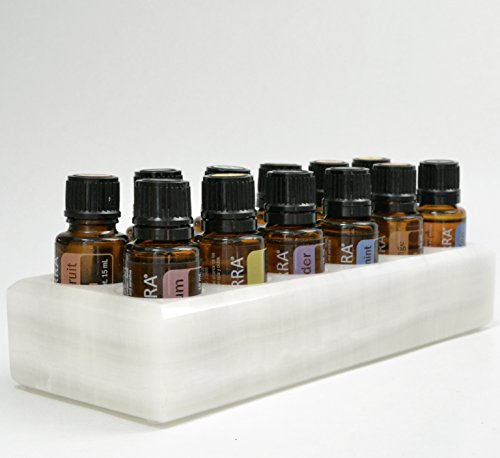 [Luxurious Shades Of Stone Essential Oils Holder Carrying Case - Storage And Display Box for 12, 15ml Bottles - Free Matching Tray - 100% Onyx Stone (White Cloud)] (Auspicious Stone)