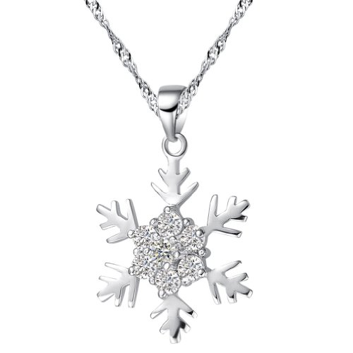 Chaomingzhen Sterling Silver Cubic Zirconia Snowflake Pendant Necklace for Women