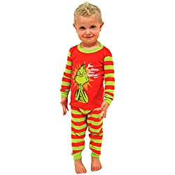 Intimo Boys' Dr Seuss The Grinch Evil Smile Pajama Set (4T)
