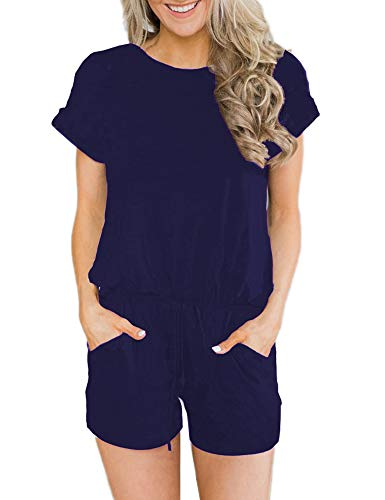 ANRABESS Women's Summer Solid Jumpsuit Casual Loose Short Sleeve Jumpsuit Rompers with Pockets Elastic Waist Playsuit Navy-S BYF-33
