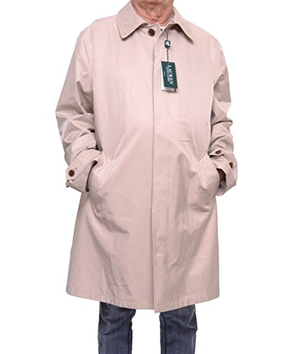 New Ralph Lauren Khaki (Ralph Lauren Khaki Solid Four Button Cotton Blend New Men's Rain Coat (44 Long))