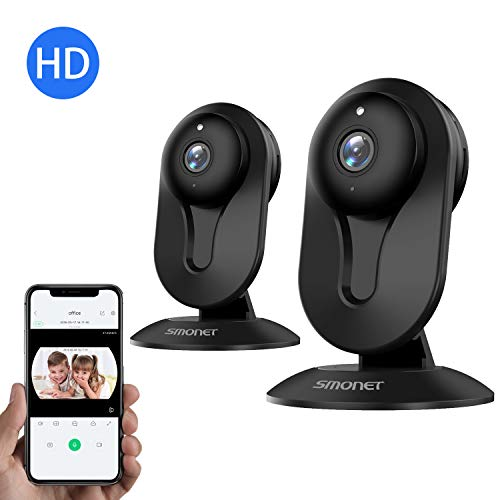 Cheap SMONET Wireless IP Camera, HD IP Security Camera Built in Two-Way Audio, Security Surveillance CCTV Camera with Night Vision-Cloud Service Available(2packs,Black)