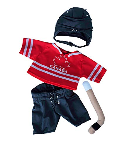 "Canada Hockey w/Helmet & Stick Teddy Bear Clothes Fits Most 14""-18"" Build-A-Bear and Make Your Own Stuffed Animals    from Stuffems Toy Shop"