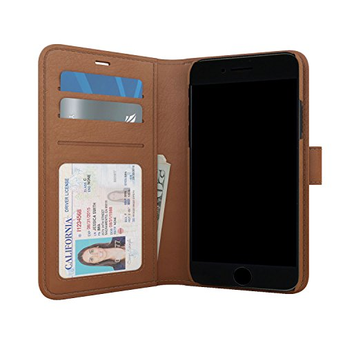 - Skech Polo Book Wallet Cover, Detachable Case, Stand for iPhone 8 Plus, iPhone 7 Plus, 6s Plus - Brown