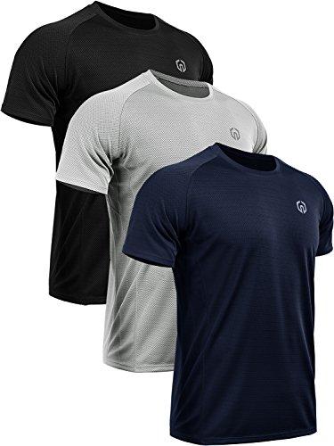 Neleus Men's 3 Pack Mesh Athletic Running Workout Shirts,5033,Black,Grey,Navy Blue,US L,EU XL