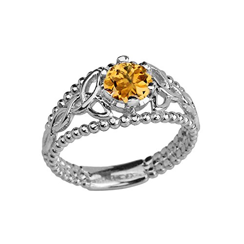 10k White Gold Modern Beaded Celtic Trinity Knot Engagement Ring with Genuine Citrine (Size 7)