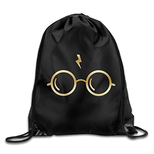 Harry Potter Glasses Junior Gold Logo Drawstring Backpack Bag - Junior Drawstring Backpack