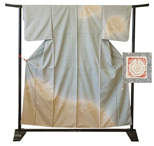 博多着物市場 きものしらゆり 身丈157cm 裄66cm 釘抜紬 石川県無形文化財 本場牛首紬 高級 訪問着 正絹 身長151cm~158cmの方に最適