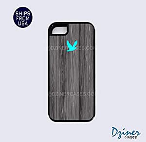 iPhone 4 4s Case - Dark Grey Wood Print Turquoise Bird iPhone Cover