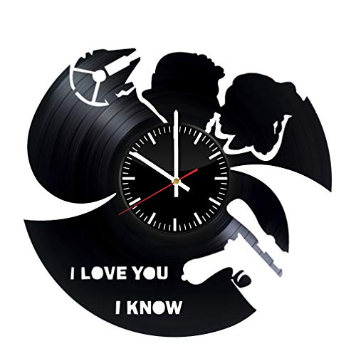 Star Wars Leia and Han Solo Vinyl Record Wall Clock - Original HANDMADE Gift for Couple I Love You I Know -