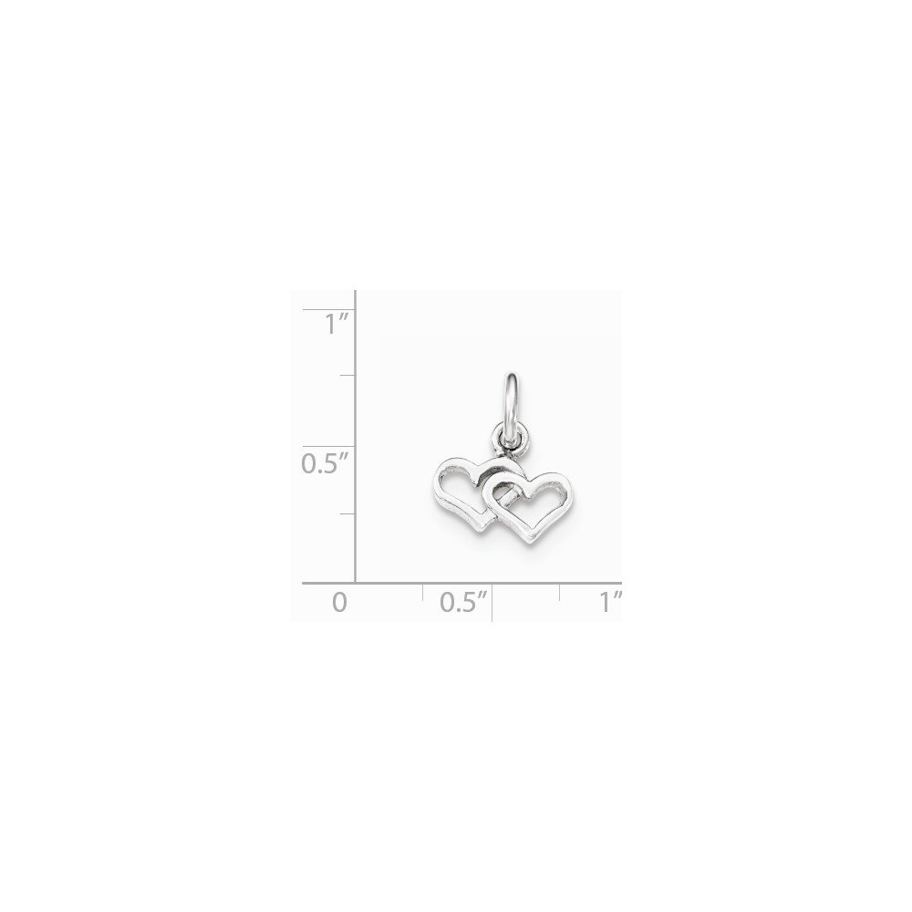 Jewel Tie 925 Sterling Silver Polished Double Heart Pendant Charm