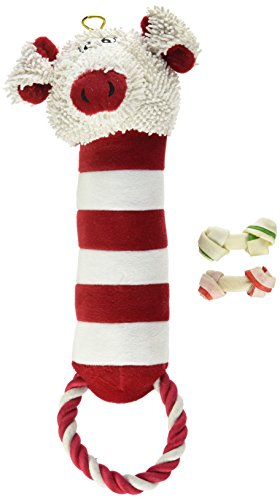 Peppermint Pals Dog Toy and Christmas Rawhide Treats