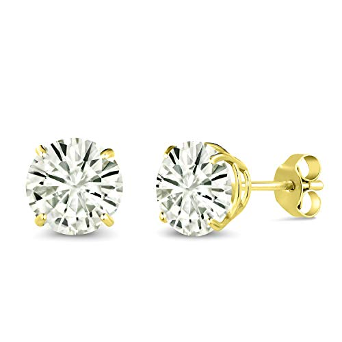 (14K Yellow Gold Stud Earrings Forever Classic Round 2.00ct (DEW) Created Moissanite by Charles & Colvard)