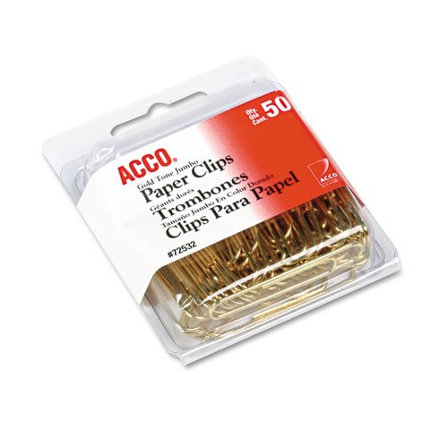 ACCO Brands Value Pack of 100 ACCO Gold Tone Jumbo Paper Clips, Smooth Finish, Steel Wire, 20 Sheet Capacity, 2 boxes, 50 Clips per Box (A7072532)