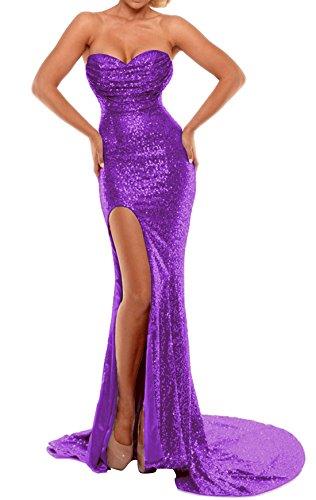 BEAUTBRIDE Women's Sexy Strapless Mermaid Evening Dress with Slit 2018 New Purple B Custom
