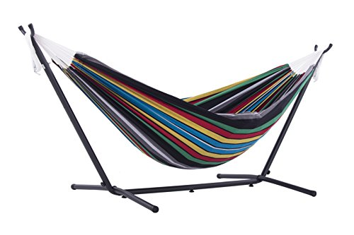 Hammock Multi Colored (Vivere Double Hammock with Space-Saving Steel Stand, Rio Night)