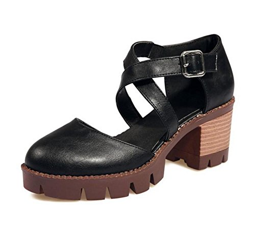 Plataforma Womens Talón Retro Baja BLACK 40 Impermeable Hueco Gruesa Zapatos XIE 40 Hebilla Cinturón Sandalias SgWxqvtnw
