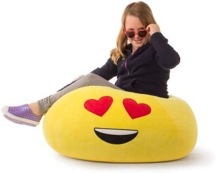 Durable Very Comfortable Bean Bag Chair Love Yellow Heart Eyes Soft Fur GoMoji Emoji Ergonomic