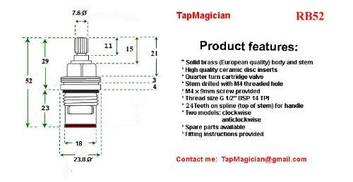 Tap Magician Pair of Replacement Mixer Tap Cartridge Valve Quarter Turn 24 teeth x 52mm
