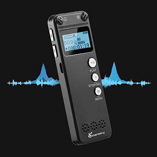 Voice Recorder, Vansky Ultra Thin 8GB Digital Sound Recorder, MP3 Player 3072Kbps PCM Audio Recorder Dictaphone, Double Microphone, AGC Noise Reduction, Voice Activated,USB Charging Cable Included