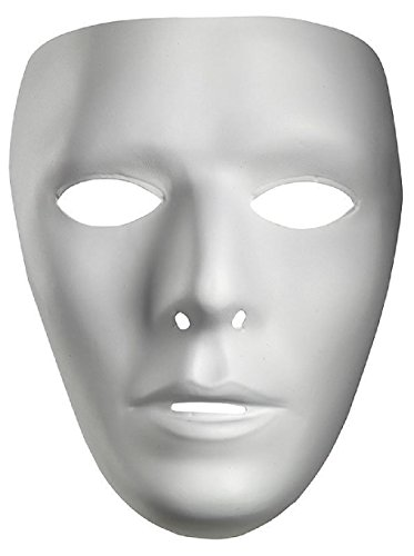 OvedcRay Blank White Adult Men Women Female Male Mask Drama Costume Face Mask (Raggedy Ann Costume Face)
