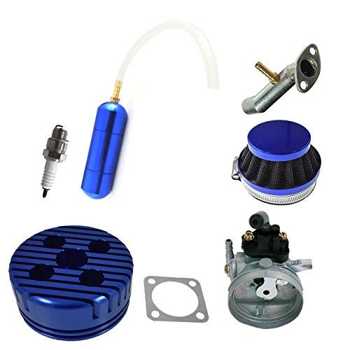 JRL Blue CNC Cylinder Head Carburetor Power Boost Bottle For 80cc Motorized Bicycle ()