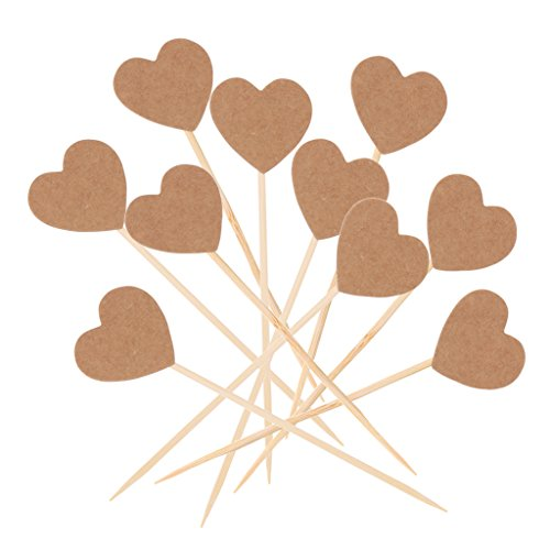 Jili Online 50pcs Rustic Vintage Kraft Paper Love Heart Cupcake Picks Cake Toppers Food Flags Canape Sticks Wedding Bridal Shower Party Decoration