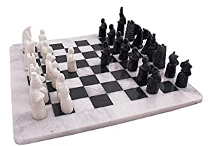 16 Inches Handmade Original Marble Two Players Full Chess Game Table Sets