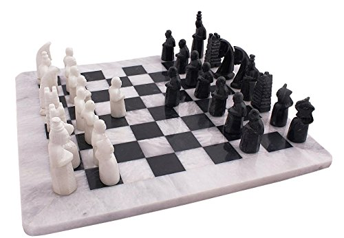 16 Inches Handmade Original Marble Two Players Full Chess Game Table Sets (Black and White) ()