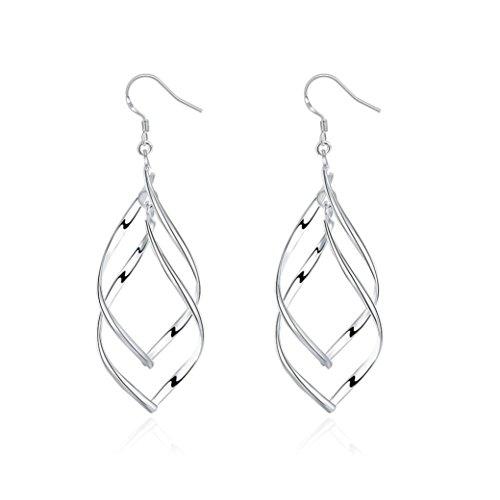 Celendi_ Jewelry Sterling Silver Earrings Double Elongated-Oval Wire Earrings