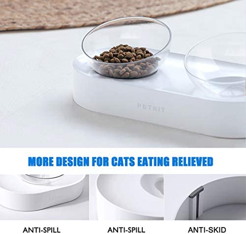PETKIT Elevated Cat Bowls with Stand Stress Free, Tilted Pet Food Bowls for Cats and Small Dogs, Food Grade Material Nonslip No Spill Raised Pet Feeding Bowls Dishwasher Safe
