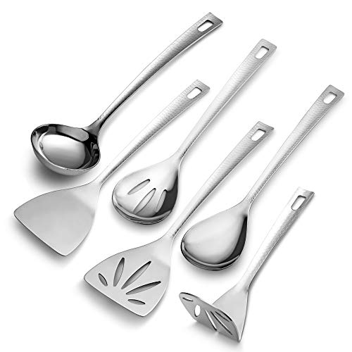 (MITBAK Hammered Stainless Steel Utensil Set 6-Pc Cookware | Kitchen Gadgets Include Spatulas, Turner, Ladle & Spoon | Non-Stick Kitchenware Basics | Gift for Chef, Cook &)