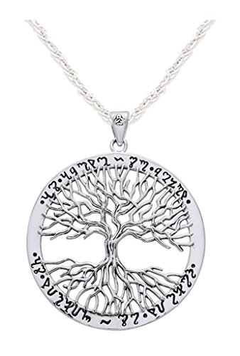 0.925 Sterling Silver Mickie Mueller Wiccan Tree of Life Pendant Necklace by US Jewels And Gems