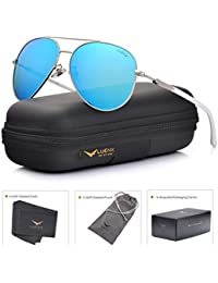 Mens Womens Aviator Sunglasses Polarized with Accessories - UV 400 Protection Large Metal Frame for Outdoor