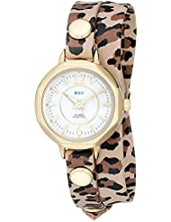 La Mer Collections Womens LMDELMARDW1506 Del Mar Watch with Leopard Wrap Band