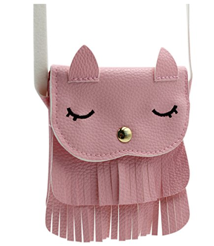 ZGMYC Kids Toddlers Cat Tassel Crossdy Bag Small Shoulder Purse Gift for Little Girls, Pink ()
