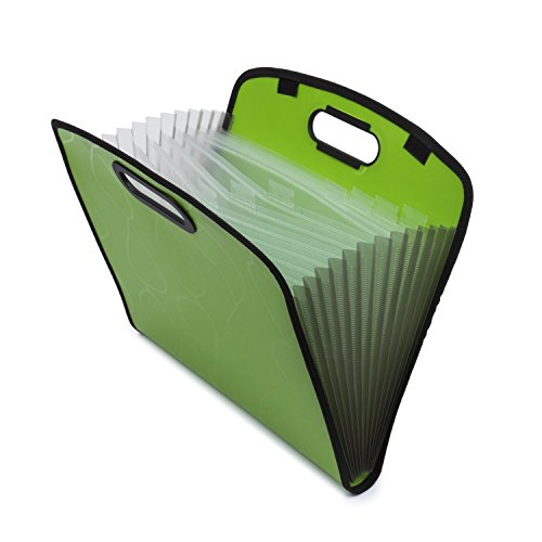 Expandable Portable Hand-Held Accordion File Document Folder File Organizer A4 and Letter Size 13 Pockets Green