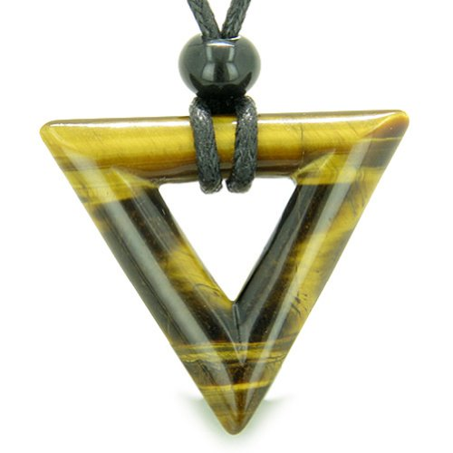 - Amulet Triangle Powers Lucky Charm Tiger Eye Arrowhead Healing Energies Pendant Necklace