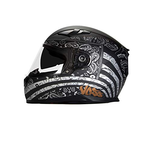 (Voss 988 Moto-1 Full Face Helmet America Graphic. Internal Eyeshade Quick Release DOT/ECE - Medium - Flat Silver)