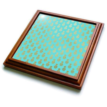 3dRose Anne Marie Baugh - Patterns - Tropical Aqua and Image of Gold Pineapple Pattern - 8x8 Trivet with 6x6 ceramic tile (trv_316281_1) ()